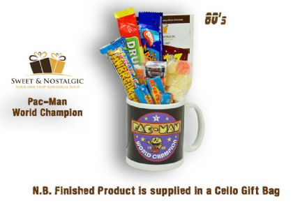 Pac-Man Champion Mug with/without an arcade selection of 80's retro sweets